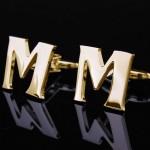 Буква М золотая Запонки