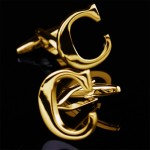 Буква С золотая Запонки