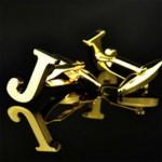 Буква J золотая Запонки