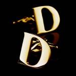 Буква D золотая Запонки