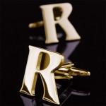 Буква R золотая Запонки