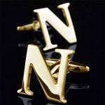 Буква N золотая Запонки