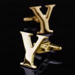 Буква Y золотая Запонки