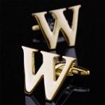 Буква W золотая Запонки
