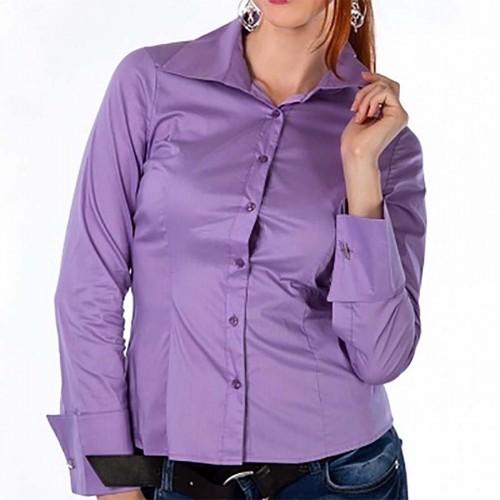 87e74e45ea7 Женская сиреневая рубашка под запонки