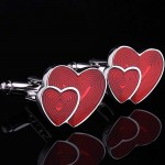 Два красных сердца Запонки
